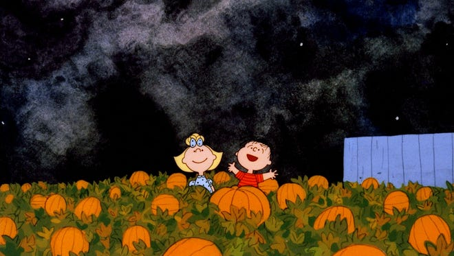 Sally and Linus had good weather for their evening in the pumpkin patch. Folks in the Deep South, Great Lakes and Northwest won't be so lucky this Halloween.