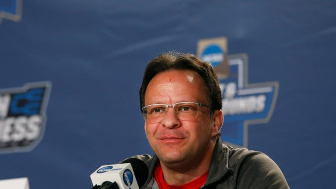 Indiana's Tom Crean talks during Wednesday's press conference.  Marc. 16, 2016