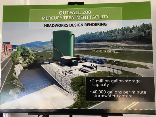 One of two renderings of the mercury treatment facility