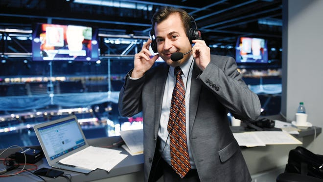 LAS VEGAS, NV - SEPTEMBER 28:  Vegas Golden Knights' radio broadcaster Dan D'Uva poses before the Knights take on the Colorado Avalanche for a preseason game at T-Mobile Arena on Sept. 28, 2017 in Las Vegas, Nevada. (Photo by David Becker/NHLI via Getty Images)