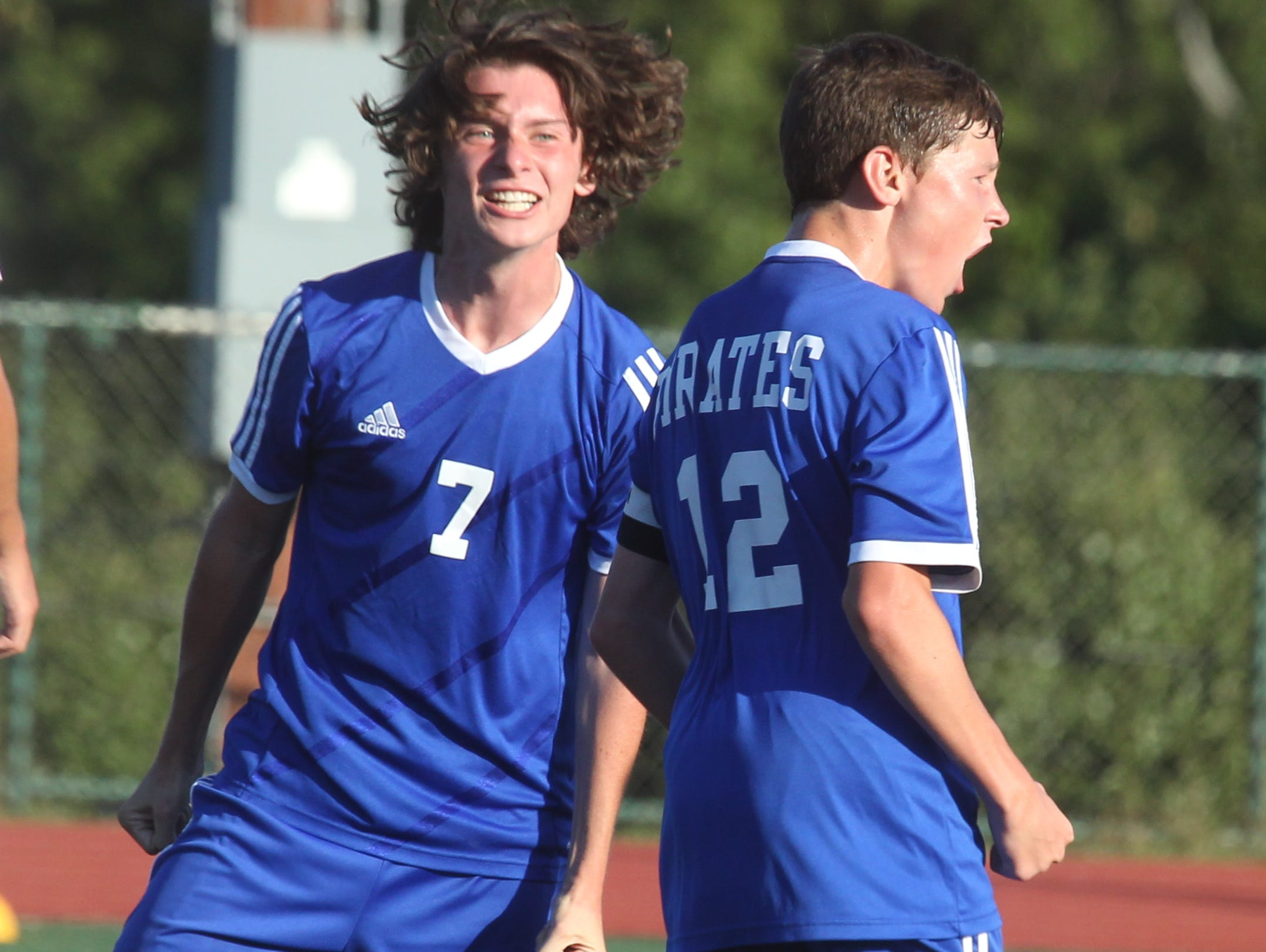 Pearl River's Brian Flaherty, left, and Jake Kurzhals celebrate Kurzhals' goal during a game at Tappan Zee Sept. 24, 2015. Pearl River won1-0.