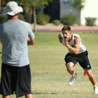 Chandler High WR #18 Gunner Romney during football