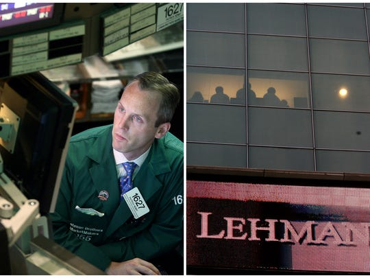 This combination of Associated Press file photos shows, left, Patrick Kenny a Specialist of Lehman Brothers working his post on the trading floor of the New York Stock Exchange on Monday, Sept. 15, 2008, and right, the Lehman Brothers headquarters Monday, Sept. 15, 2008 in New York.