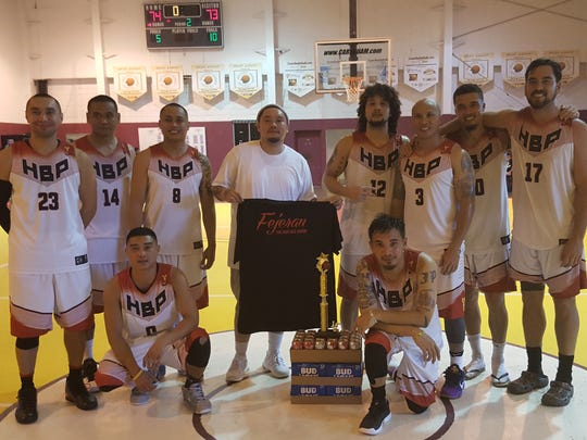 HBP dethroned the Andersen Bombers 74-73  in the Men's Varsity Division in the 2016 Golden Hoops Classic Fall Tournament Sunday at Tamuning Gym. Back row, from left: Lance Osborn, Reggie Rechebong, Oscar Espinosa, coach RT Tingson, Joe Blas, Sandy Fejeran, Will Stinett and Seve Susuico. Front row, from left: Shipley Villanueva and JP Cruz