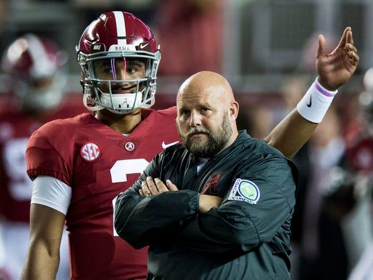 Alabama quarterback Jalen Hurts and offensive coordinator