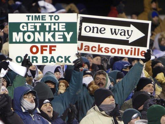 Philadelphia Eagles fans celebrate late in the fourth