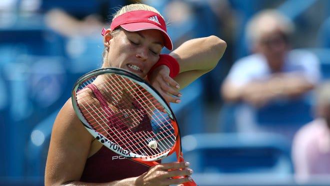 Angelique Kerber (GER) reacts against Karolina Pliskova (CZE) in the finals during the Western & Southern Open.