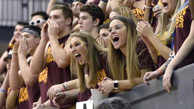 Fans from Pittsford Mendon, the top seed and defending champion in the Section V Class A1 tournament, cheer on their team earlier this season at the Rainbow Classic at the University of Rochester. At 19-1, the Vikings are hoping to get back to the state championship game and win it.