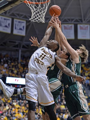 Forward Cleanthony Early of the Wichita State Shockers goes up for a rebound against the William & Mary Tribe during the first half of a Nov. 14 game.