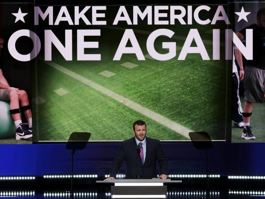 Brock Mealer delivers a speech on the fourth day of the Republican National Convention on Thursday at the Quicken Loans Arena in Cleveland, Ohio.