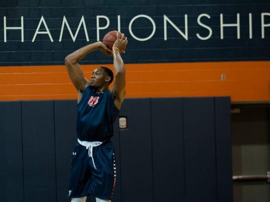 Auburn's Austin Wiley (50) shoots during the first practice of the 2017-2018 NCAA Basketball Season on Friday, Sept. 29, 2017, in Auburn, Ala.