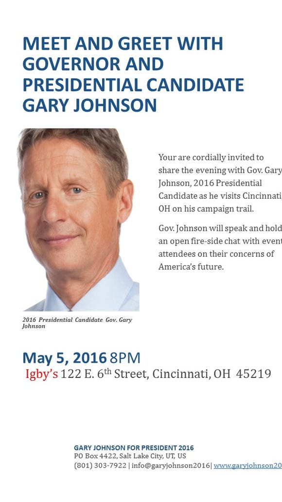 Libertarian candidate and former New Mexico Gov. Gary Johnson's invitation to his May 5 meet-and-greet event in Cincinnati.