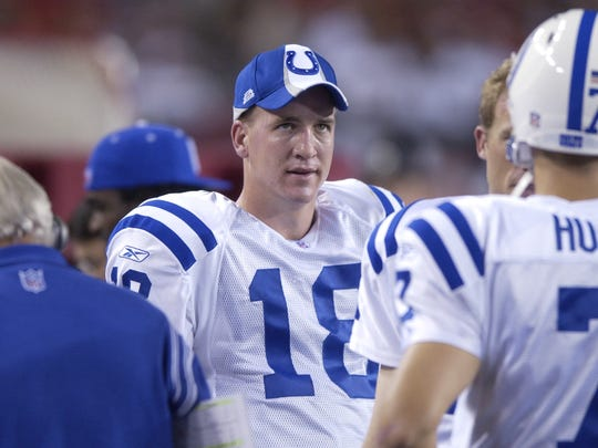 10-5-2003   Peyton Manning of the Colts shows a look