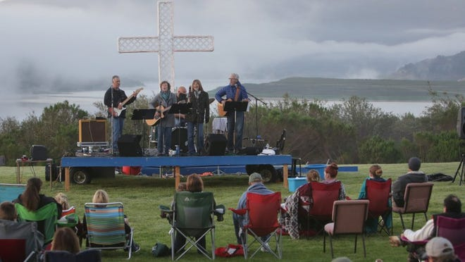 Easter sunrise services can offer spectacular scenery, such as this 2016 service at Lake Casitas, put on by Ojai Valley Community Church.
