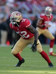 San Francisco 49ers linebacker Patrick Willis (52) warms up before an NFL football game  against the Chicago Bears in Santa Clara, Calif., Sunday, Sept. 14, 2014. (AP Photo/Marcio Jose Sanchez)