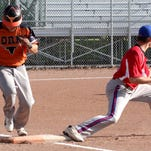 Brady Beedon makes the catch to get the out on Longhorns Cody Camphausen, in the Wednesday night Men's Recreational Softball matchup between the Longhorns and Secory Flyers at Pine Grove Park.