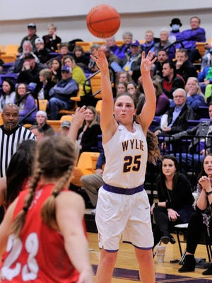 Wylie guard Lauren Fulenwider (25) takes a 3-point shot during the 73-48 victory against Sweetwater on Tuesday, Feb. 6, 2018 at Bulldog Gym.