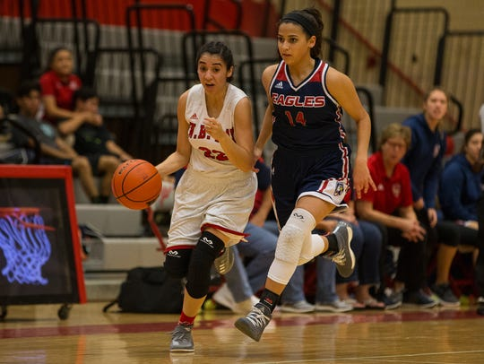Ray's Alexis Mendoza drives the ball up the court as
