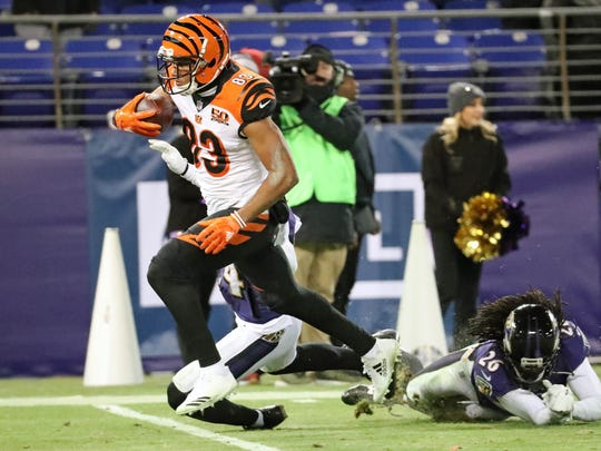 Bengals wide receiver Tyler Boyd scores the touchdown