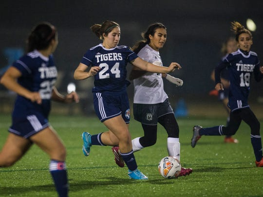 Carroll's Nicole Escamilla dribbles past a King defender