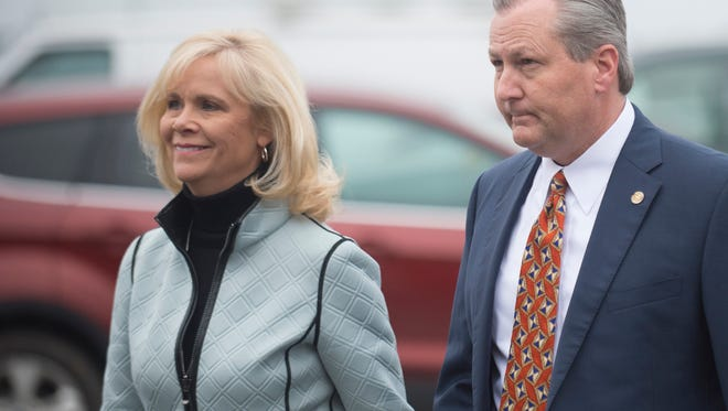 Mike Hubbard and his wife Susan Hubbard walk into the Lee County Justice Center for a hearing on Friday, Jan. 8, 2015, in Opelika, Ala. Hubbard was indicted on 23 felony ethics violations by the Alabama Attorney General's office. Mike Hubbard and his wife Susan Hubbard walk into the Lee County Justice Center for a hearing on Friday, Jan. 8, 2015, in Opelika, Ala. Hubbard was indicted on 23 felony ethics violations by the Alabama Attorney General's office.