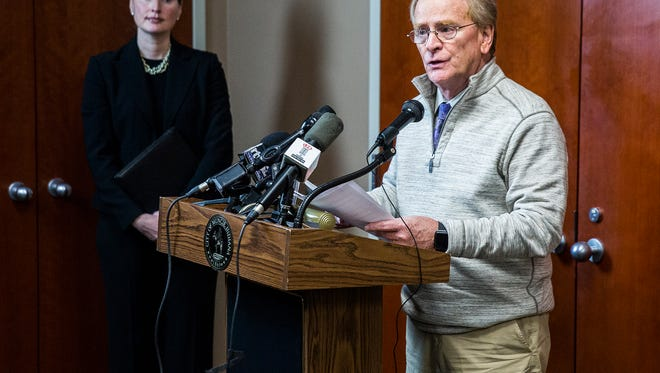 Mayor Dennis Tyler addresses media during a press conference following the indictment and arrest of building commissioner Craig Nichols.