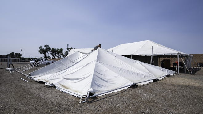 Temporary tents are being set up to serve as the mobile testing site for COVID-19 at Arroyo and Acero Avenues while the Colorado State Fair takes place.