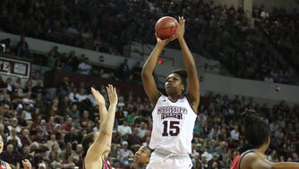 Mississippi State's Teaira McCowan (15) takes a shot in the lane in the first quarter. Mississippi State played Nicholls in the first round of the NCAA Women's basketball tournament at Humphrey Coliseum on Saturday, March 17, 2018. Photo by Keith Warren