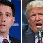 Wisconsin Gov. Scott Walker (left) for the first time Wednesday said he would support Donald Trump (right) if he becomes the Republican nominee for president.