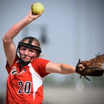 Milaca's Hannah Johnson pitches in the late innings of Wednesday's game against Paynesville in Sauk Rapids.