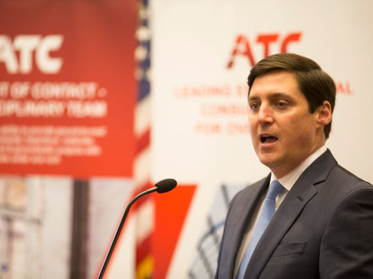 Jeff Jenkins, a partner with Bernard Capital Partners, speaks during a presentation about ATC Group Services in March 2016 in Lafayette.