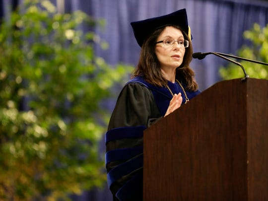 College president Natalie Harder addresses graduates during commencement for South Louisiana Community College at the Cajundome Convention Center May 12, 2016.
