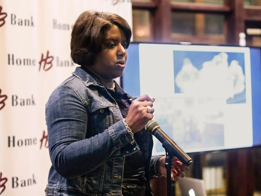 Homeless advocate Tonya Bolden-Ball speaks during the Do Good Project finale in Lafayette Tuesday, Jan. 17, 2017.