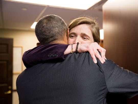 "Former President Barack Obama is hugged in ""The Final"