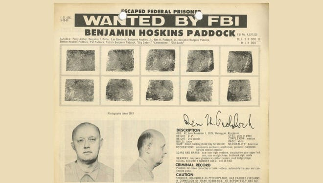 Benjamin Paddock, father of the suspect behind the Oct. 1, 2017, massacre in Las Vegas, was on the FBI's 10 most-wanted fugitives list in 1968 after escaping from a Texas prison.