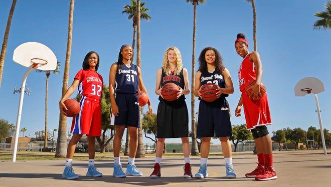 The All-Arizona girls basketball players, from left: Armani Hawkins, Mountain View High; Kristine Anigwe, Desert Vista High; Courtney Christmas, Liberty High; Sabrina Haines, Desert Vista High; and Najiyyah Pack, South Mountain High.
