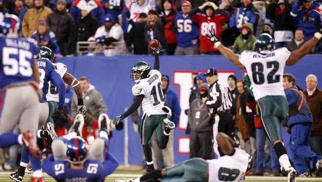 Eagles punt returner DeSean Jackson (10) celebrates his touchdown against the Giants as time expires during an NFL game between the Philadelphia Eagles and New York Giants at New Meadowlands Stadium in East Rutherford, NJ, on Sunday, December 19, 2010. Photo by BRADLEY J. PENNER/staff photographer. East Rutherford, NJ -- 12/19/10 -- #21441