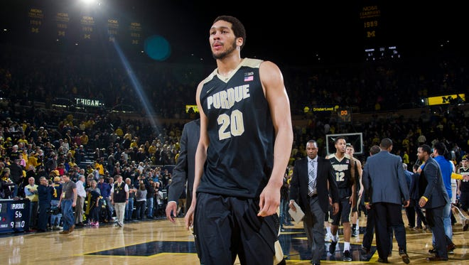 Purdue center A.J. Hammons (20) walks off the court after an NCAA college basketball game against Michigan at Crisler Center in Ann Arbor, Mich., Saturday, Feb. 13, 2016. Michigan won 61-56.