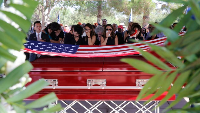With an American flag draped over his coffin, former state Rep. Paul Moreno was laid to rest at Fort Bliss National Cemetery Friday. Moreno died Sept. 1 at the age of 86.