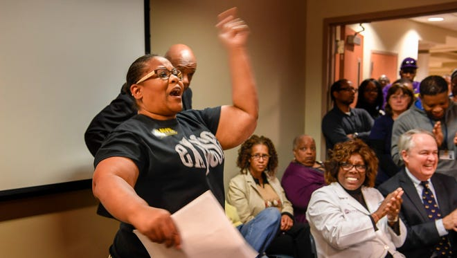 Vanessa Robertson-Sanders, a certified technician, expresses her opinion regarding the possible closure of Nashville General Hospital to the Hospital Authority Board during a meeting Nov. 17, 2017.