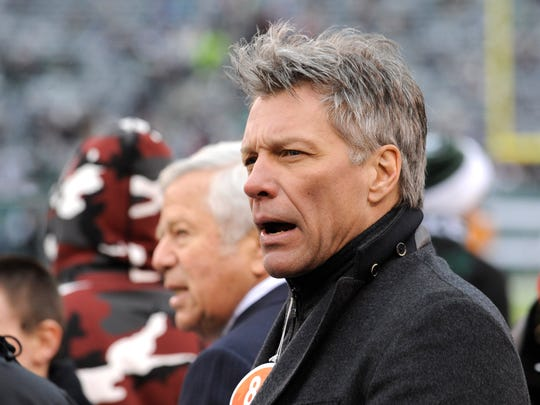 Jon Bon Jovi on the sidelines of the New York Jets and New England Patriots game on Dec. 21, 2014, in East Rutherford.