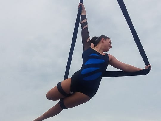 Macee Holshouser, 15, on the aerial sling.