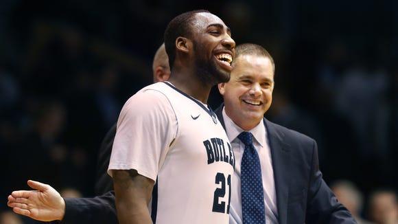 Butler coach Chris Holtmann and the Bulldogs' Roosevelt Jones were all smiles after a strong week.