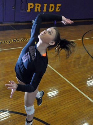 Bogota's Samantha Gioiosa is The Record Girls Volleyball Player of the Year. Photographed  In Bagota high school, NJ. November 30, 2016.