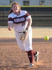 McMurry pitcher Cheyenne West throws a pitch during