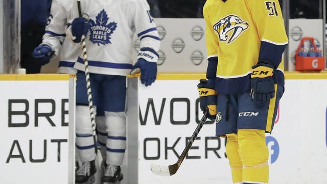 Austin Watson (51) skates to the bench Monday night following the Nashville Predators' 5-2 loss to the visiting Toronto Maple Leafs in their first game back from their bye week and the All-Star Break.