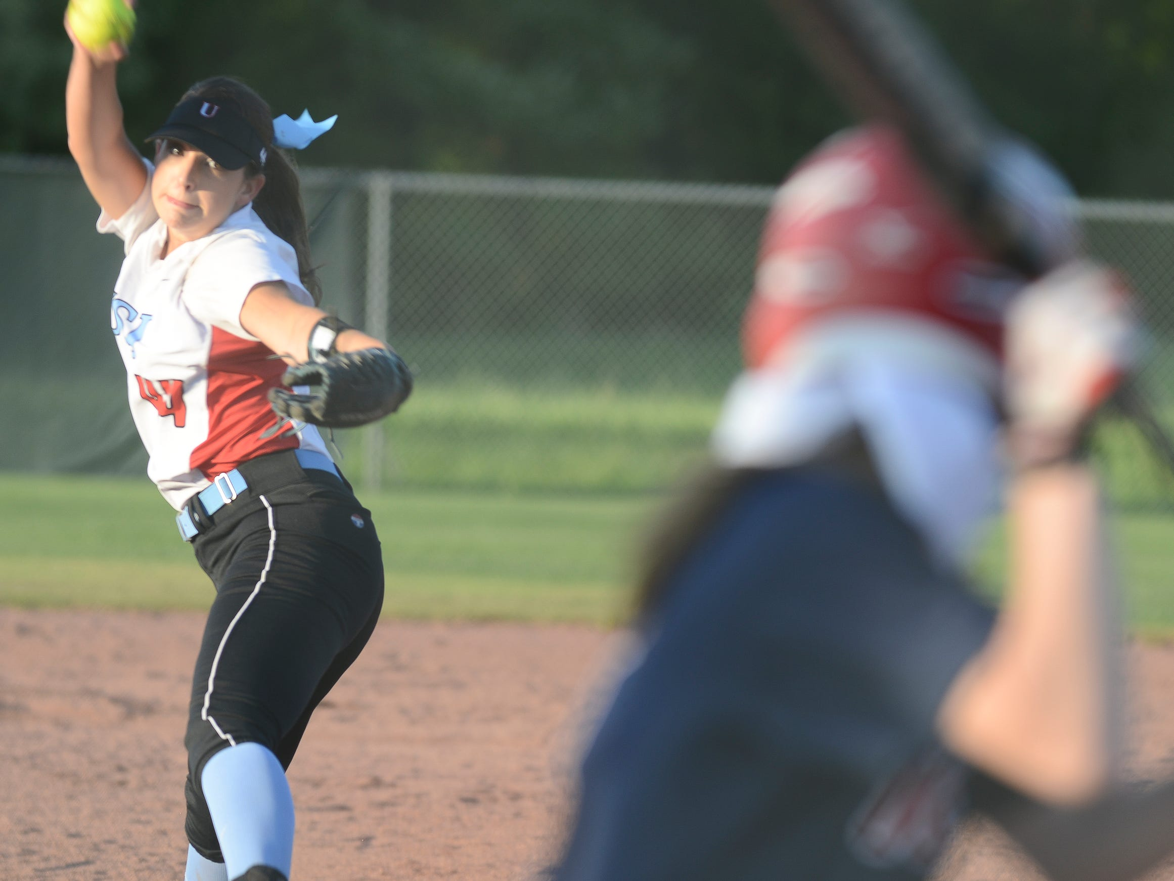 USJ's Ally McFarland pitches against Tipton-Rosemark Tuesday evening in Jackson.