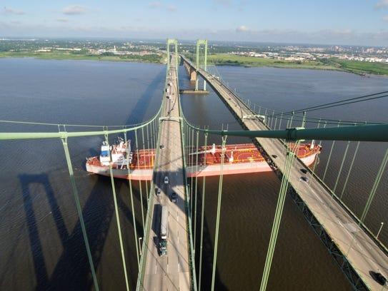The Delaware Memorial Bridge has two elevated main