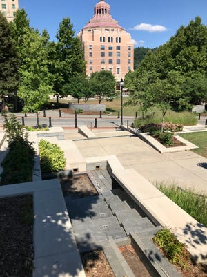 """The """"River Fountain"""" in Pack Square Park has been out of commission for a couple of years, but the city does have plans to fix it this fiscal year."""