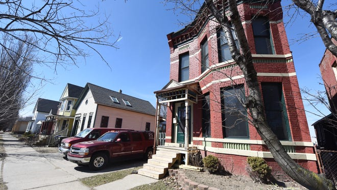 Restored homes are seen along Leverette Street in Corktown.